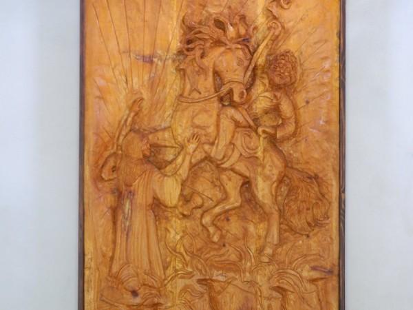 Ecomuseo Val Sanagra - Cappella dell'Artüs - altorilievo ligneo con soggetto ispirato alla leggenda
