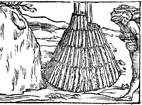 Ecomuseo Val Sanagra - Il lavoro del carbonaio in un'illustrazione del '500 - De la pirotechnia 1540. Edizioni Il Polifilo.